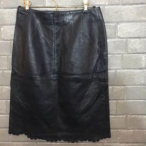 Louis Feraud Skirts - feraud // vintage navy blue leather skirt fr 36